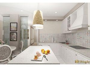 абажур над барной стойкой, фартук в стиле пэчворк, белая кухня стиль классика, навесная вытяжка, встроенная черная варочная панель и мойка