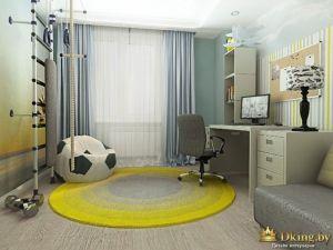 детская: полосатые обои, шведская стенка, кресло-мешок в виде мяча
