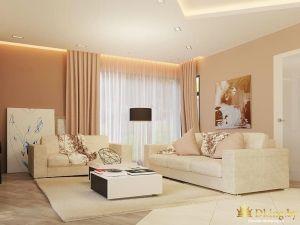 гостиная: два светлых дивана, бежевые стены, задрапированное окно шторами в пол в тон стен. Подстветка потолка по периметру