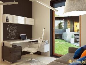белый пол, темная акцентная стена, белый глянцевый рабочий стол, современный белый компьютерный стул