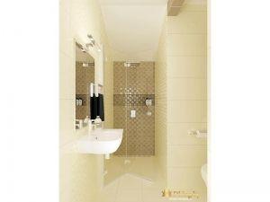 ванная: подвесной умывальник, стационарная душевая кабинка, плитка бежевая на полу и на стенах