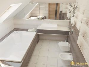 ванная на втором этаже: серый и белый цвета. Ванна, подвесные унитаз и биде