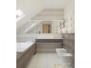 ванна на втором этаже: экран для ванны из серой плитки, светлый пол, стены выложены серой плиткой, с цветоным принтом и белоый