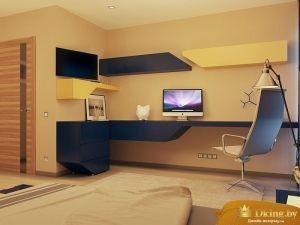 детская комнатна: бежевый фон стен и пола и акцентная сине-желтая мебель оригинальной геометрии