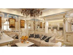 шикарный диван в стиле ампир в бежевом цвете, журнальный столик, картины в рамах в дворцовом стиле