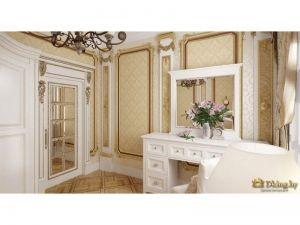 шкаф с зеркальными и белыми дверями в стиле ампир: позолоченные филенки, резьба