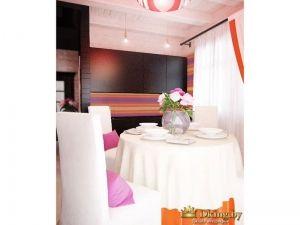 белая столовая группа на фоне кухонного гарнитура цвета венге. шкафчики без ручек, фартук - яркая скиналь, повторяющая акцентные цвета в текстиле и картинах: розовый, оранжевый, сиреневый, желтый