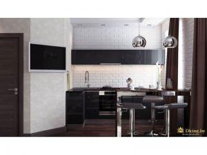 вид на кухню: темный кухонный гарнитур без ручек на фоне стены, выложенной керамиеским белым кирпичом. на белой стене телевизор. дверь темно-коричневая. барная стойка глянцевая темная. стальные светильники над барной стойкой