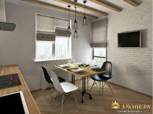 кухня-лофт: балки на потолке, светильники-лампочки, деревянный стол на железных ножках, черные и белые пластиковые стулья. пол под дерево. стена белая кирпичная. на окне серые римские шторы