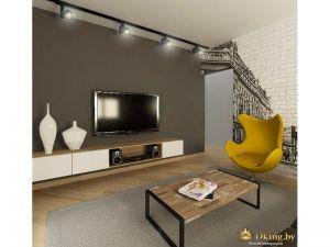 гостиная: серая стена, минималистичная консоль под телевизор - белый глянец в сочетании с деревянной фактурой. желтое дизайнерское кресло. журнальный стол лофтовый, деревянный