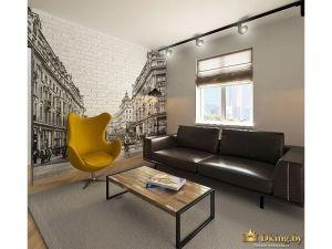 акцентная кирпичная стена с рисунком: улица города в черно-белых тонах, уходящая вдаль. диван черный кожаный двухместный на ножках, кресло желтое дизайнерское на стальной ноге. стол журнальный лофтовый, деревянный на железных опорах