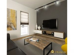 гостиная: серая стена с телевизором, консоль из белой ДСП и ДСП под дерево. римская утора серого цвета. остальные стены белые. акценты желтые. диван черный. столик с деревянной столешницей в стиле лофт