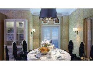 столовая группа: круглый стол, стулья с круглыми спинками. у стены - стекляный белый шкаф-витрина. над столом - светильник насыещнного фиолетового цвета