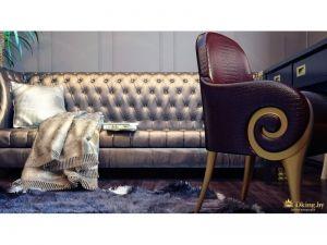 фиолетовый стул-кресло в стиле ар-деко с резьбой, диван с бронзовой обивкой и гладкой блестящей фактурой