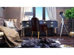 стол-конторка возле окна, телескоп в качестве декора. мебель в стиле арт-деко, на полу ковер-шкура. цвета темные, насыщенные: коричневый, фиолетовый, черный, дымчато-серый