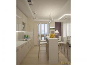 кухня с барной стойкой. цвета белый и бежевый. высокие барные стулья. кухонный гарнитур с ручками. шторы фиолетовые. многоуровневое освещение.