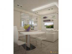 столовая группа в столовой зоне: белые современные стулья, белый стол.
