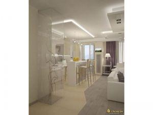 интересное решение для разграничения зоны гостиной и столовой: плитка и ламинат стыкуются в форме зигзага