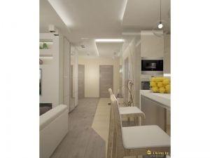 светлые стены, белый потолок, разноуровневое освещение, белые барные стулья, белая стойка. техника черного цвета встроенна в конструкцию-пенал