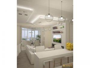 белый интерьер: белая барная стойка, стулья, стены, потолок, диван. стеклянные светильники