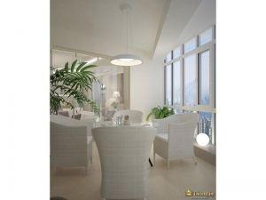 белые кресла, остекление в пол. акцент в белом интерьере - зеленые растения