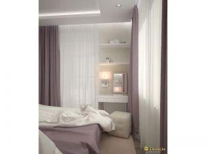 текстиль в спальне: белый в сочетании с холодным дымчато-сиреневым