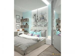 кожаная кровать с мягким изголовьем, подвесные полки-ящички, светло-голубая стена, черно-белая фотопечать