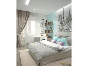 серые шторы на окнах с подхватом, большая кожаная кровать, серый текстиль, голубые акценты