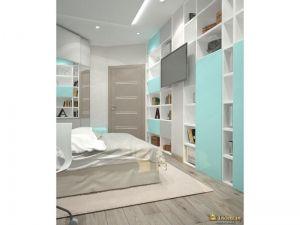 стена с открытыми и закрытыми полками для хранения: голубые дверцы, белые полки. стены белые, пол под дерево серого оттенка
