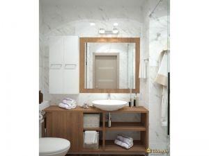 белая ванная с деревянной мебелью. зеркало в деревянной раме. умывальник подвесной
