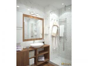 лконичный душевой уголок с прозрачными дверцами. белые стены с мраморным рисунком, деревянная мебель и пол под дерево