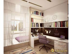 угловой стол с сиреневым рабочим стулом. много открытых полок. кровать закрыта шторами