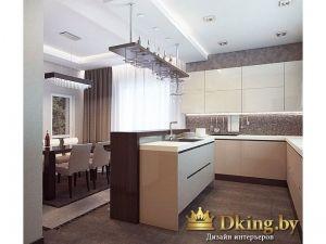 кухня угловая: белые шкафы без ручек, остров с мойкой