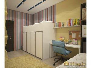 рабочее место и кровать-чердак белого цвета в детской