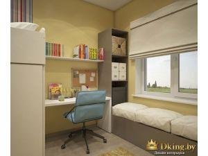 рабочее место у стены и место для отдыха у окна
