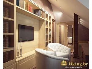кабинет: шкаф-стеллаж, мягкие белые кресла