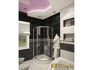 черно-белая ванная с душевой кабинкой в частном доме