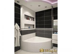 угловая белая ванна, экран - мозаика. стены черно-белая плитка, потолок двухцветный фигурный