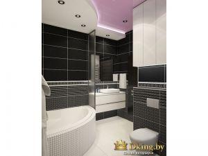 ванная с угловой ванной и подвесным унитазом и биде