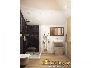 черные и белые стены в ванной. пол под дерево.