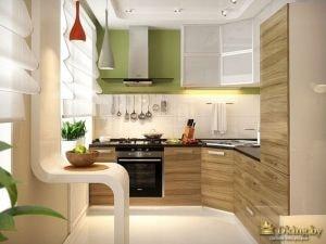 Кухня с зелеными жлементами