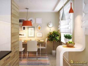 Кухня с красными лампами
