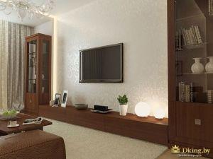 Телевизор напротив кожаного дивана