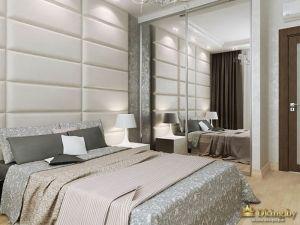 Двуспальная кровать и зеркало до пола
