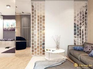 Стена-перегородка со стеклянными элеентами