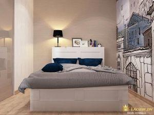 Двуспальная серая кровать