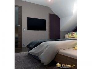 Телевизор на стене около кровати