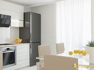 зонирование в небольшом коттедже: белая кухня