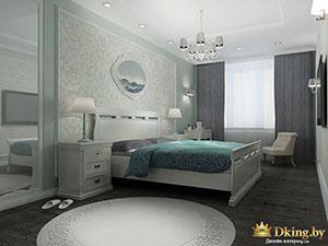 серый и бирюзовый в интерьере спальни коттеджа