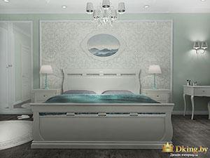 спальня в коттедже: белый, серый и бирюзовый